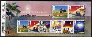 Great Britain 2015 Christmas perf m/sheet containing 8 va...