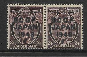 1946 Horizontal pair 3d KGVI with BCOF Overprint