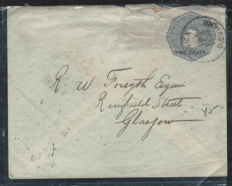 BRITISH GUIANA (PP1906B) 2C SHIP/2C PSE 1899 TO SCOTLAND
