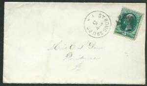 USA 3c Washington on cover STROUDSBURG PA fancy cancel.....................61876