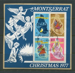 STAMP STATION PERTH Montserrat #380a Christmas  Mini Sheet on card Used 1977