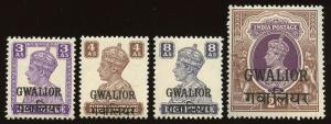 INDIA GWALIOR 106, 108, 110, 113  MINT NEVER HINGED - 2019 SCV $91.25