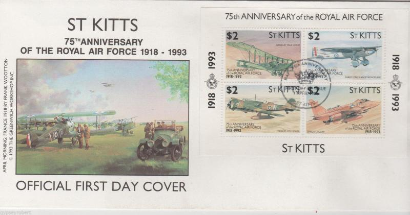 ST KITTS  ROYAL AIR FORCE M/S 1993   FDC