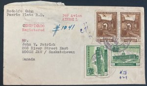 1949 Puerto Plata Dominican Republic Airmail cover to Moose Jaw Canada