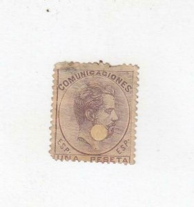SPAIN(MK6848) # 187 F-USED REPAIRED PUNCH HOLE 1p 1870 KING AMADEO /LILAC CV $55