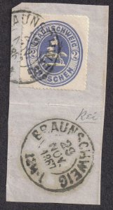 Germany-Brunswick 1865 2gr Coat of Arms Wilhelm I sg 32 Handstamped Braunschweig