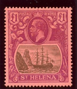St Helena 1922 KGV £1 grey & purple/red MLH. SG 96. Sc 99.