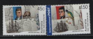 AUSTRALIA, 2053-2054, MNH, 2002, ENCOUNTER OF MATTHEW FINDERS & NICOLAS BAUDIN