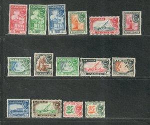 Zanzibar Sc#249-263 M/VLH/VF, Cv. $48