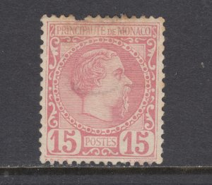 Monaco Sc 5 MLH. 1885 15c Prince Charles III, pulled perf, light stain, CV $350