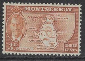 MONTSERRAT SG125 1951 3c ORNGE-BROWN MNH