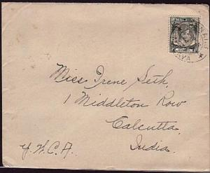 STRAITS SETTLEMENTS 1939 GVI 8c on cover PENANG to Calcutta................34580