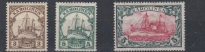 CAROLINE ISLAND 1915 - 19  S G 27 - 29B  SET OF 3     MH