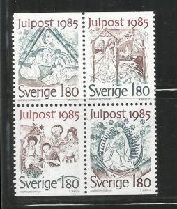 SWEDEN, 1561A,  MNH, BLOCK OF 4, JULPOST 1985