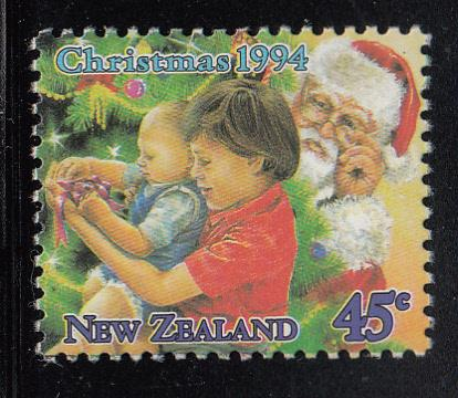 New Zealand 1994 MNH #1243 45c Christmas Children, tree Santa Booklet stamp