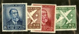 CHILE 260-261, C129-C130 MNH SCV $2.60 BIN $1.30 PEOPLE & AIRPLANES