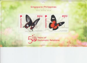 2019 Singapore Relations w/Philippines Butterflies SS (Scott NA) MNH