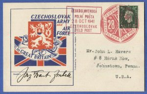 X530 - GB 1941 CZECHOSLOVAK FIELD POST Patriotic Post Card to Pennsylvania