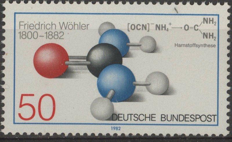 Stamp Germany Sc 1379 1982 Organic Chemistry Discoverer Friedrich Wohler MNH