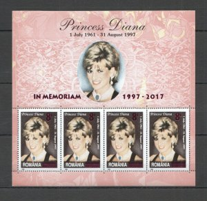 RM142 2017 ROMANIA FAMOUS PEOPLE PRINCESS DIANA !!! OVERPRINT IN MEMORY KB MNH