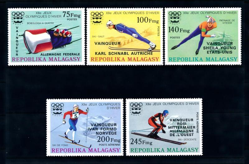 [43529] Madagascar 1976 Olympic games Bobsleigh Skating Overprint in black MNH