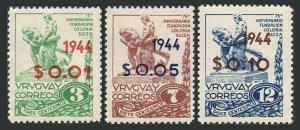 Uruguay 530-532.Michel 650-652. Founding of the Swiss Colony,50th Ann.1944.
