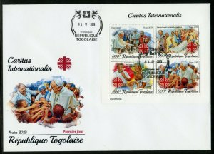 TOGO 2019  CARITAS  INTERNATIONAL WITH POPE FRANCIS  SHEET FIRST DAY COVER