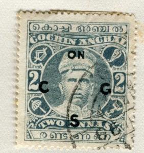INDIA COCHIN;  1913 early SERVICE Optd. issue fine used 2a. value
