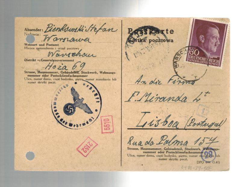 1942 Warsaw Poland Censored Postcard Cover to Lisbon Portugal