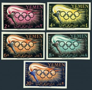 Yemen 98-102 imperf.MNH.Michel 200B-204B. Olympics Rome-1960.Torch,Rings.
