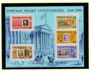 Guernsey Sc 426a 1990 150th Anniversary  Penny Black stamp sheet mint NH