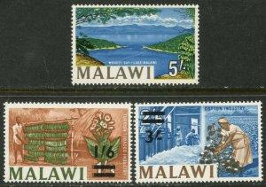 MALAWI  Sc#26-28 1965 Added 5sh and Re-valued Complete OG Mint Hinged