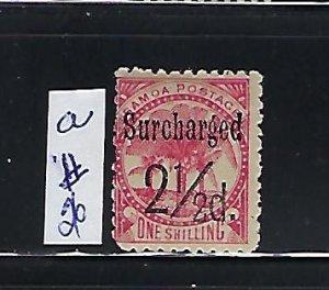 SAMOA SCOTT #26A 1898-1900 SURCHARGE 2 1/2P ON 1SH   (ROSE) -  MINT HINGED