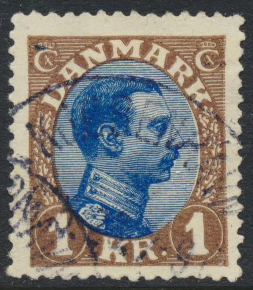 Denmark Scott 128 (AFA 131), 1Kr brown/blue Chr. X, F-VF U