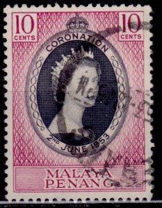 Malaya, Penang, 1953, QEII Coronation, 10c, used