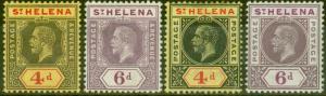 St Helena 1912-13 set of 4 SG83-86 Fine MNH