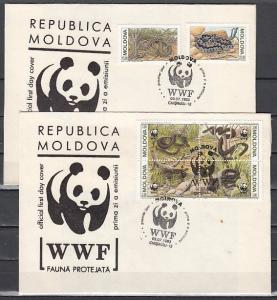 Moldova, Scott cat. 72-74. Snakes, W.W.F. issue on 2 First day covers. ^