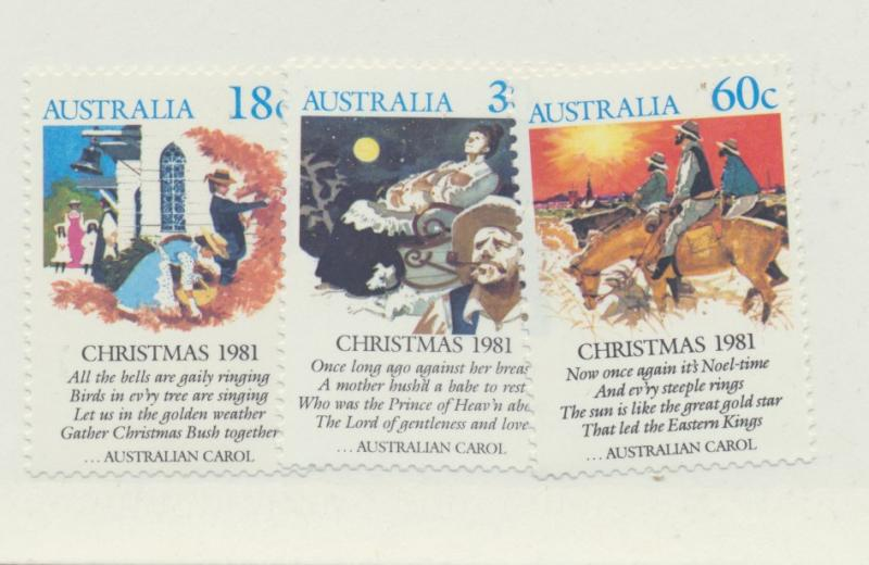Australia Scott #811 To 813, Mint Never Hinged MNH, Christmas Carols Issue Fr...