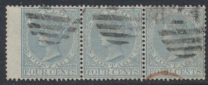 Ceylon  SG 122 Used  SC # 64 strip of 3 with wing margin see details / scans