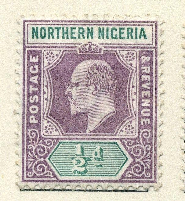 NORTHERN NIGERIA;  1902 early Ed VII issue Mint hinged 1/2d. value