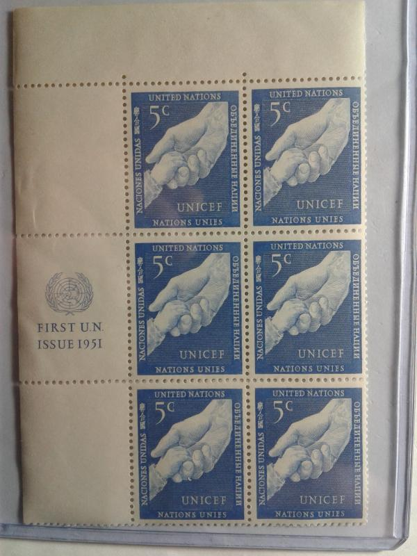 UN CLOSEOUT SCOTT # 5 PLATE BLOCK OF 6 MINT NEVER HINGED FIRST ISSUE 1951 GEM