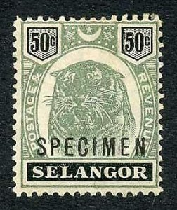 Selangor SG60s 50c Opt Specimen (M/M Hinge remainders and brown gum)