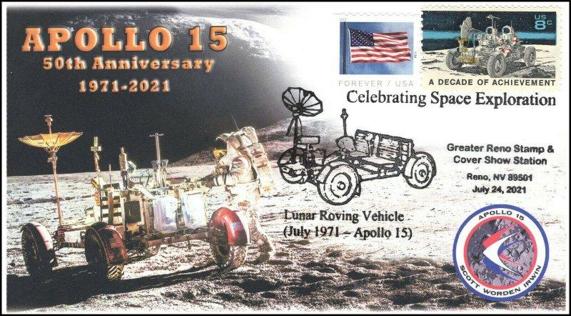 21-214, 2021, Apollo 15, 50th Anniversary, Event Cover, Pictorial Postmark, Reno