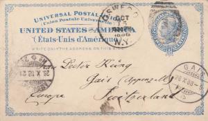 United States New York Oswego 1888 numeral duplex   2c Blue Liberty Postal Ca...