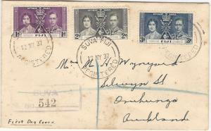 Fiji, Scott #114-116, Used on Registered First Day Cover, 6 postal markings