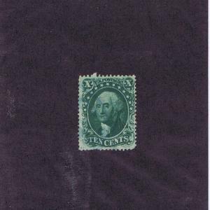 SCOTT# 31 USED 10 CENT WASHINGTON, 1857, BLUE CANCEL. GOOD LOOKING. HIGH CAT VAL