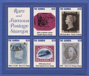 Gambia - Sc 2871 Rare & Famous Postage Stamps S/S Special Souvenir Sheet, VF MNH