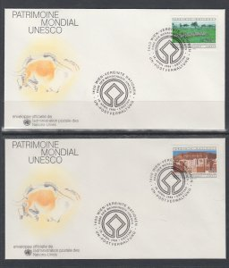 UN Vienna 42-43 UNESCO UN Postal Administration U/A Set of Two FDC