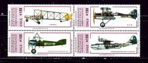 Chile 947 MH 1991 Airplanes block of 4