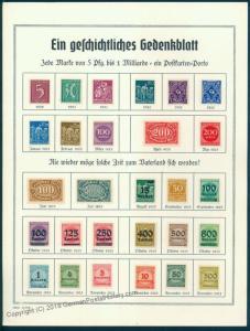 Germany 1923 Inflation Memorial Sheet ca 1924 90385